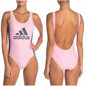 NWT Adidas Pink & Grey Logo One Piece